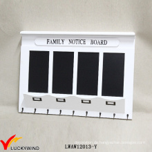 Family Notice Board Vintage White Hölzerne Wand Rack mit Blackboard